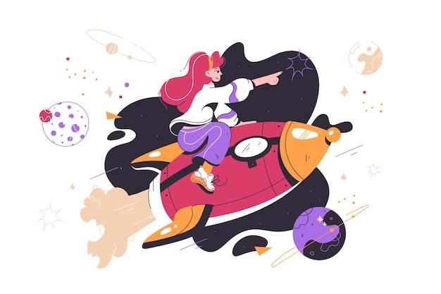 성공 로켓을 타고 앞으로만 날아가는 젊은 행복한 매력적인 소녀