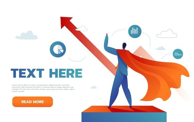 Il giovane uomo d'affari felice come un supereroe vola fino al successo. il concetto di vittoria