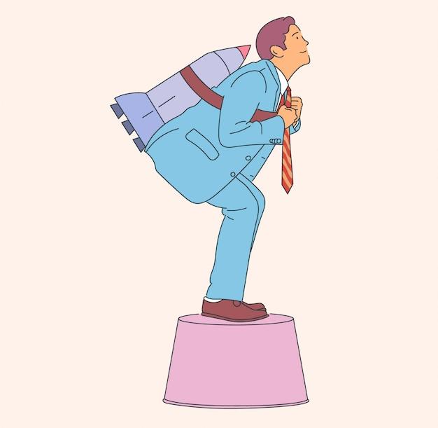 Молодой счастливый бизнесмен с ракетой, продвижение по службе. иллюстрация.