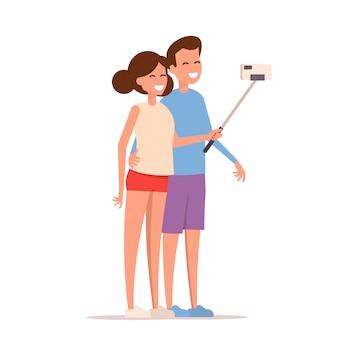 若い幸せなカップルは、selfieを取る