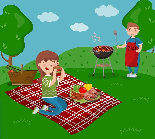 여름 휴가 만화 일러스트에서 정원, 바베큐 파티에 앉아있는 동안 젊은 행복 한 커플 요리와 바베큐를 먹는