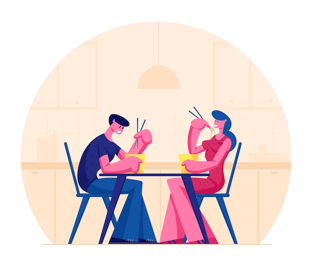 Young happy couple eating asian food in box holding sticks sitting at table in japanese or chinese cuisine restaurant. cartoon flat illustration