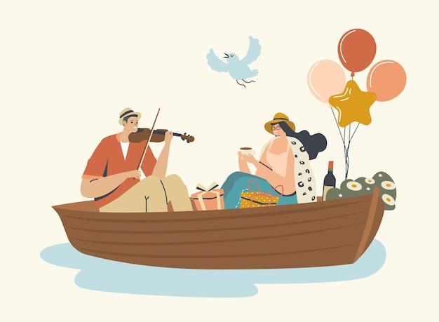 若い幸せなカップルの男と女の水面に浮かぶボート