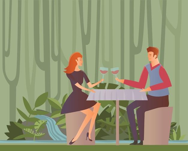 날짜에 젊은 행복 한 커플. 남자와 여자는 정글 숲에서 낭만적 인 저녁 식사에서 와인을 마신다. 그림, 흰색 배경에 고립입니다.