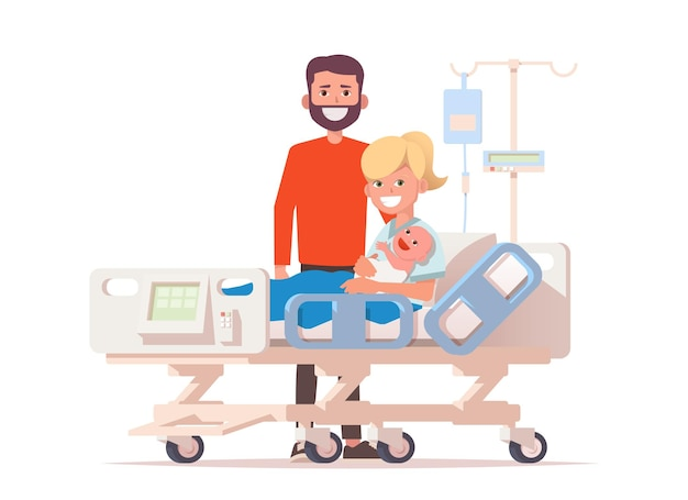 病院のベッドで彼らの新生児と若い幸せなカップル。