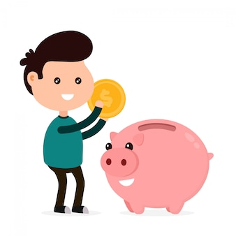 Young happy cute smiling funny man tosses a coin into a piggy bank.