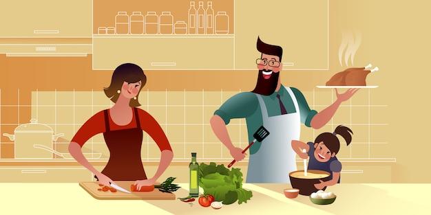 젊은 행복한 가족이 함께 부엌에서 맛있는 저녁 식사를 요리하고 있습니다. 엄마, 딸, 아빠