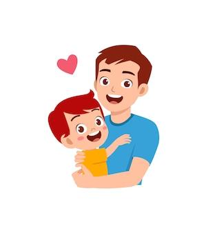 젊은 행복 한 아버지 포옹 귀여운 소녀