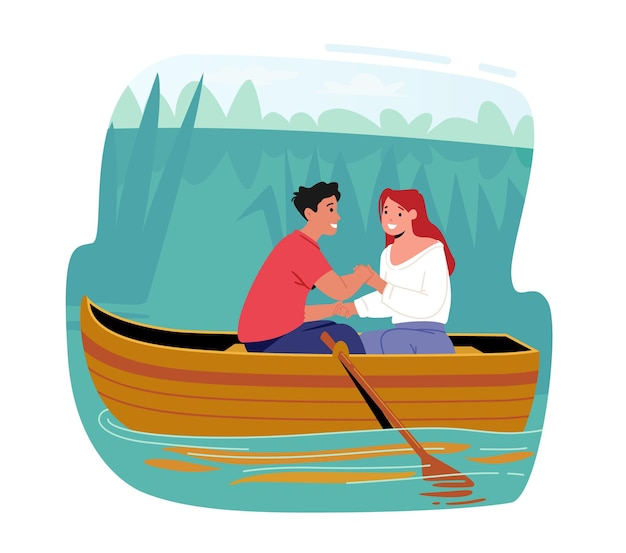 Романтические свидания молодых счастливых девочек и мальчиков. мужчина и женщина, плавающая лодка на поверхности воды. персонажи, взявшись за руки, летние каникулы, свободное время влюбленных. мультфильм люди векторные иллюстрации