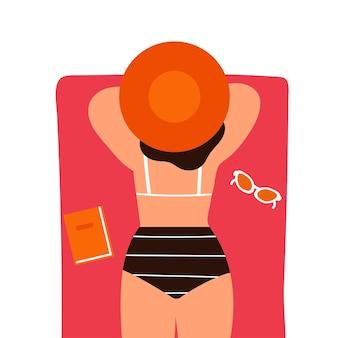 평면에 흰색 backgroundvector 그림에 beachisolated에 모자에 젊은 행복 한 소녀