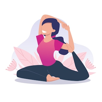 A young and happy girl practices yoga and meditates, pigeon pose. physical and spiritual practice. vector illustration in flat cartoon style.
