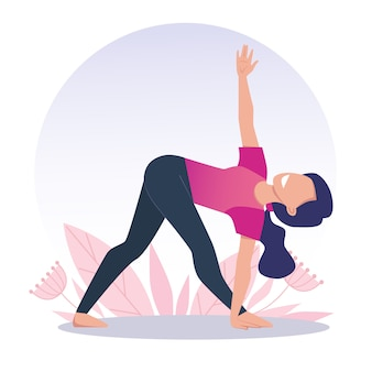 A young and happy girl practices yoga and meditates. trikonasana, triangle pose. vector illustration