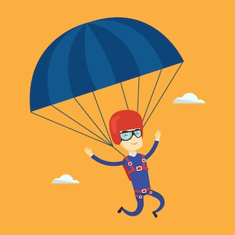 Young happy man flying with parachute.