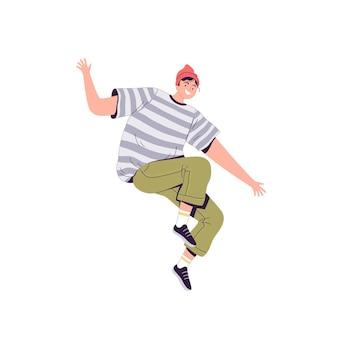 白で隔離の赤い帽子の若い幸せな男