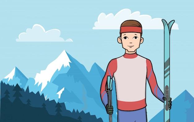 Молодой счастливый человек, стоящий с беговыми лыжами на фоне горного пейзажа. зимние виды спорта, катание на лыжах. иллюстрация.