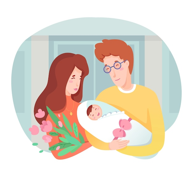 Young happy mother and father holding newborn baby on hands. maternity, parenting and childbirth. parents hugging infant kid. happiness, care and love, congratulation,  cartoon illustration