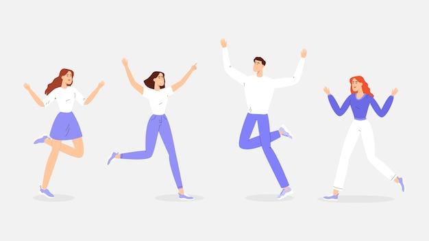 若い幸せな人々、ジャンプして楽しんでいます。