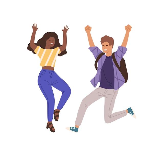 平らなベクトル図をジャンプする若い幸せな人々。男と女の手を上げるキャラクター。成功したコラボレーション、白い背景で隔離されたチームワーク。達成、成功、勝利のジェスチャー。