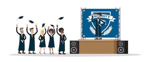 Молодые счастливые люди в день окончания школы держат диплом и бросают шляпы в воздух. улыбающийся студент произносит речь. иллюстрация