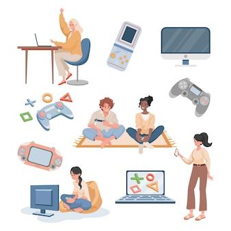 Молодые счастливые люди, играющие в видеоигры и потоковые плоские иллюстрации, изолированные на белом фоне.