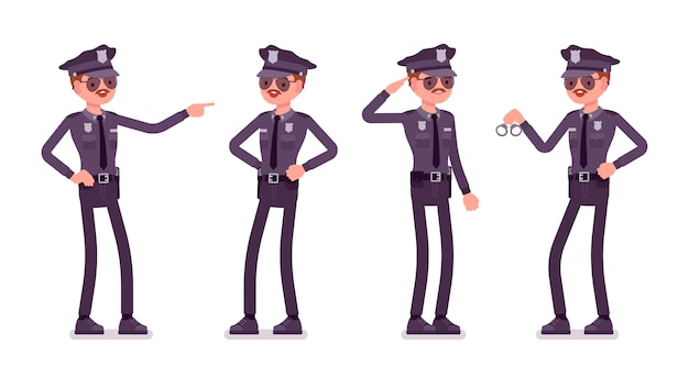 Young happy policeman