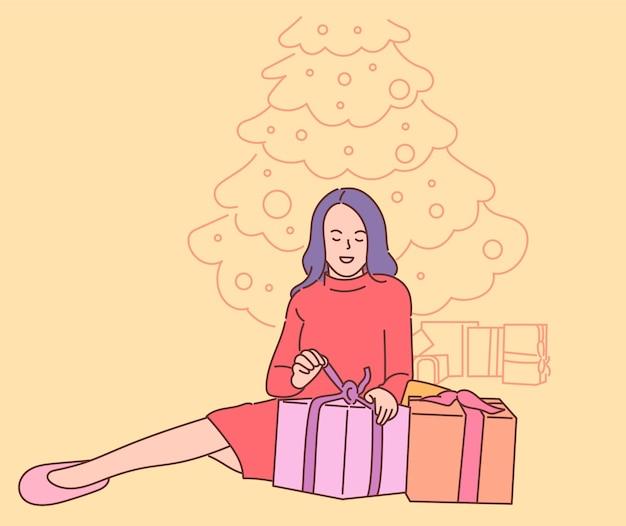 Молодая счастливая улыбающаяся женщина мультипликационный персонаж, распаковывающая много подарков