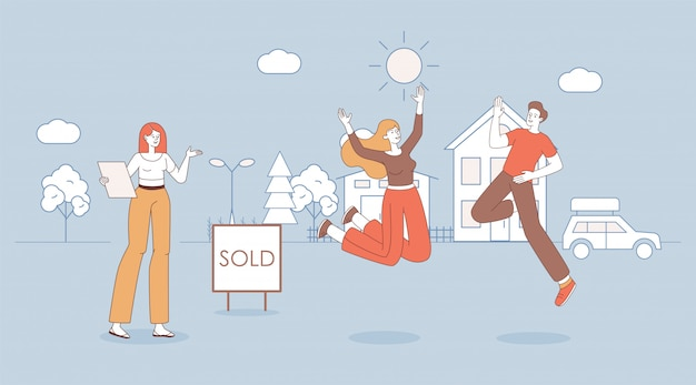 Young happy wife and husband happy to buy country house  cartoon outline illustration.