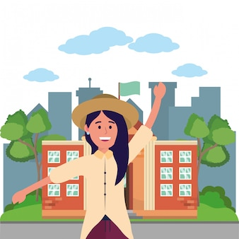 Young happy woman cartoon