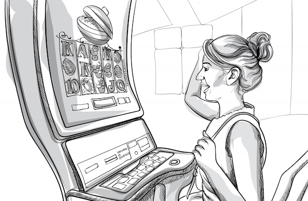 Young happy woman playing slots in casino. line art