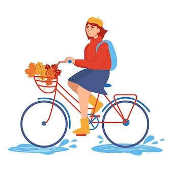 가을에 꽃다발을 들고 자전거를 타는 젊은 행복한 여자는 바구니 앞에 나뭇잎. 야외 활동의 개념입니다. 교통의 생태 차량입니다. 평면 벡터 일러스트 레이 션.