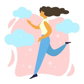 Young happy woman running, healthy lifestyle