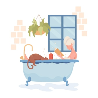 Young happy woman take a bath and reading book