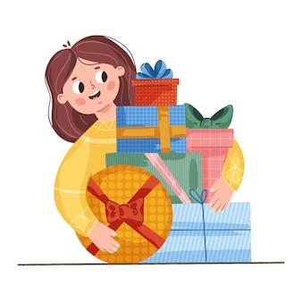 선물과 선물을 가진 젊은 행복한 여자