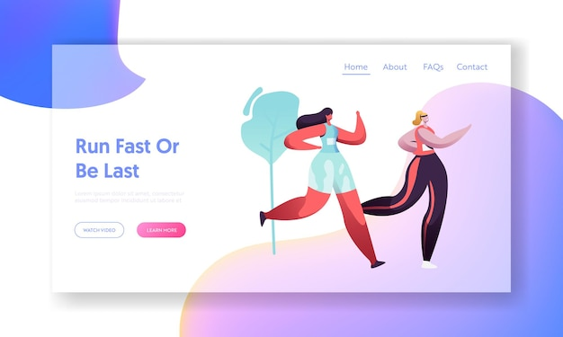 Young healthy women running marathon distance on nature landscape background.website landing page template