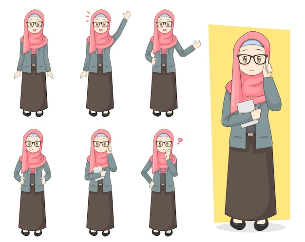 Young hijab girl character set w