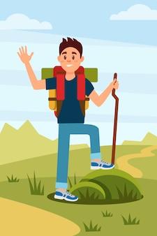 若いハイカーが手を振っています。バックパックと木の棒を持つ観光客。背景の自然の風景。野外活動。フラットなデザイン