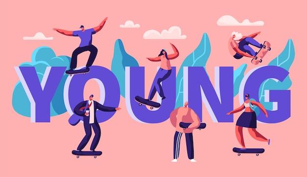 젊은 소식통 캐릭터 스케이트 스케이트 보드 타이포그래피 배너. longboard cool freedom 라이프 스타일에 스케이팅 남자. 도시 도시 스포츠 광고 수평 포스터. 플랫 만화 벡터 일러스트 레이션