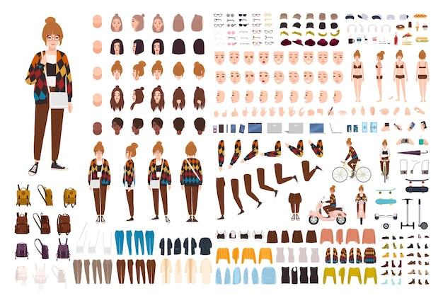 Набор анимации молодой хипстерской девушки, генератор или комплект diy.