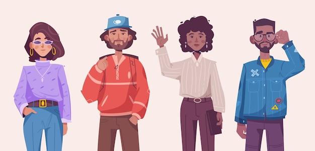 流行に敏感な若い男性と女性が一緒に立っている流行の衣装を着ています。カジュアルな服を着て孤立した人の現代カップルのベクトル文字イラスト