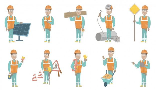 Young hispanic builder character set