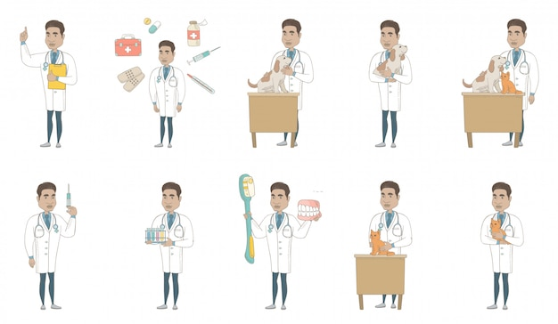 Young hispanic doctor character set