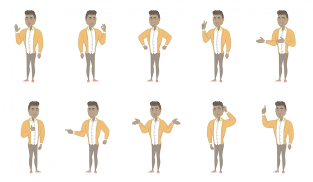 Young hispanic man character set