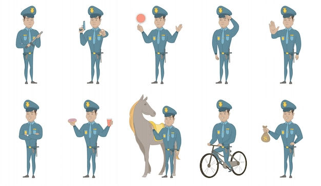 Young hispanic policeman vector illustrations set