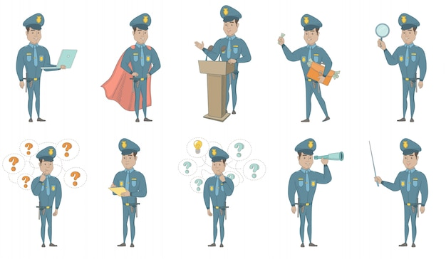 Young hispanic policeman vector illustrations set
