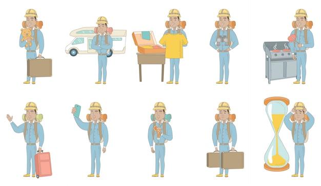 Young hispanic traveler character set