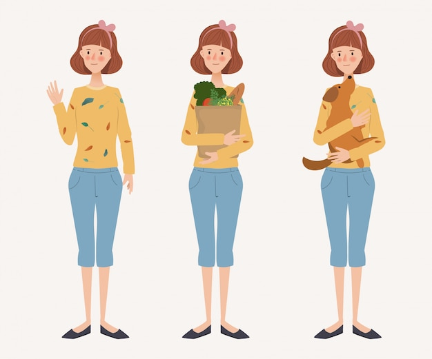 Young housewife lifestyle daily routine. hand drawn character. woman and activity.