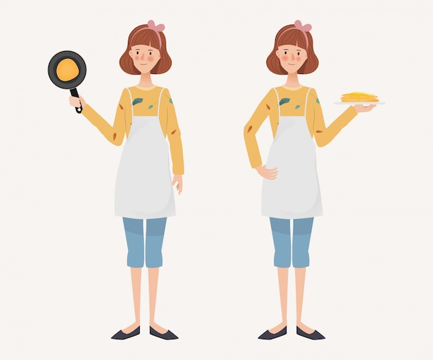 Young housewife lifestyle daily routine. hand drawn character. woman and cooking activity.