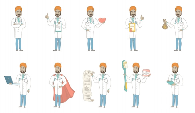 Young indian doctor character set