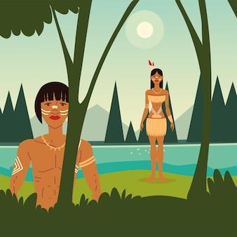 젊은 원주민 남성 여성