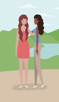 Young interracial girls couple in the camp